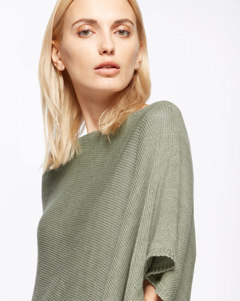 Linen Poncho - neckline: slash/boat neckline; pattern: plain; style: poncho; predominant colour: khaki; occasions: casual; length: standard; fibres: linen - 100%; fit: loose; sleeve length: short sleeve; sleeve style: standard; texture group: knits/crochet; pattern type: knitted - fine stitch; season: s/s 2016