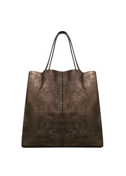 Leather Metallic Bag - predominant colour: gold; occasions: casual; type of pattern: standard; style: tote; length: shoulder (tucks under arm); size: oversized; material: leather; pattern: plain; finish: metallic; season: s/s 2016