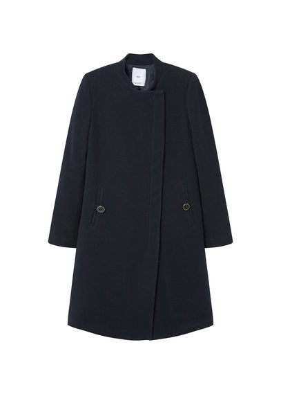 Inner Lining Coat - pattern: plain; collar: funnel; fit: loose; style: wrap around; length: mid thigh; predominant colour: navy; occasions: casual; fibres: wool - mix; sleeve length: long sleeve; sleeve style: standard; collar break: high; pattern type: fabric; texture group: woven bulky/heavy; season: s/s 2016; wardrobe: highlight; embellishment location: hip