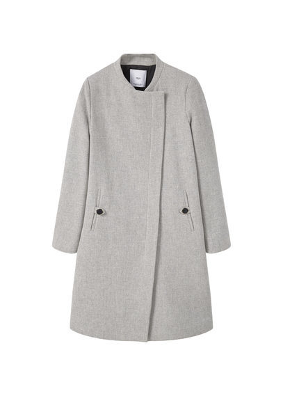 Inner Lining Coat - pattern: plain; collar: funnel; fit: loose; length: on the knee; style: wrap around; predominant colour: light grey; occasions: casual; fibres: wool - mix; sleeve length: long sleeve; sleeve style: standard; collar break: high; pattern type: fabric; texture group: woven bulky/heavy; season: s/s 2016; wardrobe: highlight; embellishment location: hip