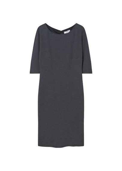 Polka Dot Dress - style: shift; length: below the knee; neckline: round neck; fit: tailored/fitted; pattern: polka dot; predominant colour: navy; secondary colour: light grey; fibres: polyester/polyamide - 100%; sleeve length: half sleeve; sleeve style: standard; pattern type: fabric; pattern size: light/subtle; texture group: other - light to midweight; occasions: creative work; season: s/s 2016; wardrobe: highlight