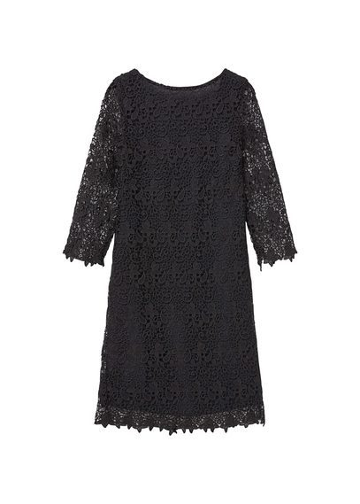 Guipure Dress - style: shift; neckline: round neck; predominant colour: black; occasions: evening; length: just above the knee; fit: body skimming; fibres: polyester/polyamide - 100%; sleeve length: 3/4 length; sleeve style: standard; texture group: lace; pattern type: fabric; pattern size: standard; pattern: patterned/print; embellishment: lace; season: s/s 2016; wardrobe: event
