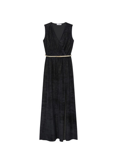 Velvet Gown - style: faux wrap/wrap; neckline: v-neck; pattern: plain; sleeve style: sleeveless; length: ankle length; waist detail: belted waist/tie at waist/drawstring; predominant colour: black; occasions: evening; fit: body skimming; fibres: viscose/rayon - stretch; sleeve length: sleeveless; pattern type: fabric; texture group: other - light to midweight; season: s/s 2016