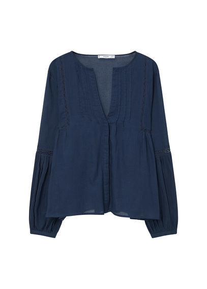 Openwork Trim Blouse - neckline: low v-neck; pattern: plain; style: shirt; predominant colour: navy; occasions: casual; length: standard; fibres: cotton - 100%; fit: loose; sleeve length: long sleeve; sleeve style: standard; texture group: cotton feel fabrics; pattern type: fabric; season: s/s 2016; wardrobe: basic