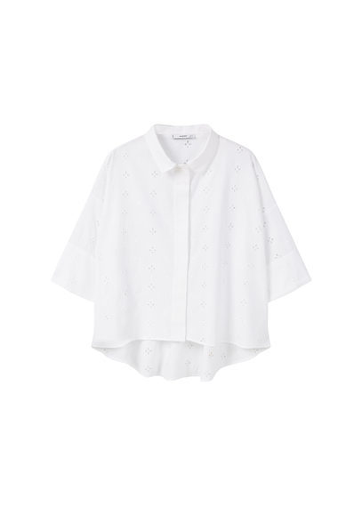 Openwork Cotton Shirt - neckline: shirt collar/peter pan/zip with opening; pattern: plain; style: shirt; predominant colour: white; occasions: casual, work; length: standard; fibres: cotton - 100%; fit: body skimming; sleeve length: 3/4 length; sleeve style: standard; texture group: cotton feel fabrics; pattern type: fabric; season: s/s 2016; wardrobe: basic