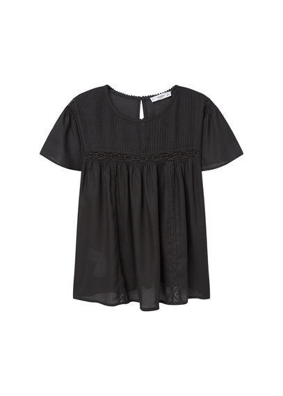 Openwork Trim Blouse - pattern: plain; style: blouse; predominant colour: black; occasions: casual; length: standard; fibres: cotton - 100%; fit: body skimming; neckline: crew; sleeve length: short sleeve; sleeve style: standard; pattern type: fabric; texture group: jersey - stretchy/drapey; season: s/s 2016; wardrobe: basic