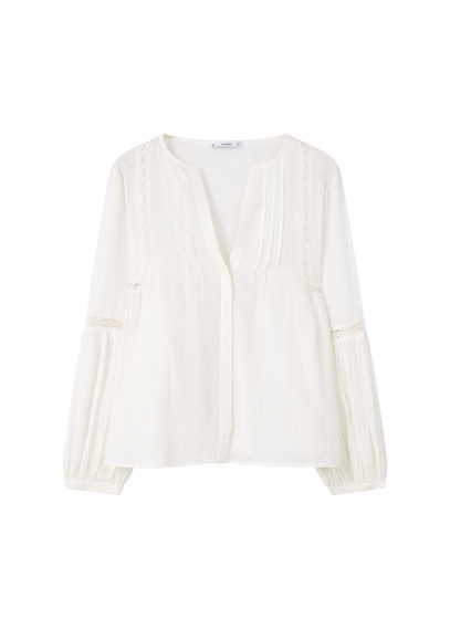 Openwork Trim Blouse - neckline: v-neck; pattern: plain; style: shirt; predominant colour: white; occasions: casual; length: standard; fibres: cotton - 100%; fit: body skimming; sleeve length: long sleeve; sleeve style: standard; texture group: cotton feel fabrics; pattern type: fabric; season: s/s 2016; wardrobe: basic