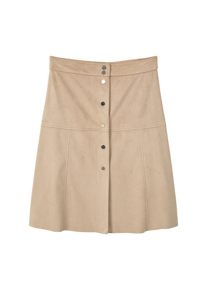 Button Skirt - pattern: plain; style: straight; waist: mid/regular rise; predominant colour: camel; occasions: casual, creative work; length: just above the knee; fibres: polyester/polyamide - stretch; fit: straight cut; pattern type: fabric; texture group: suede; season: s/s 2016; wardrobe: highlight