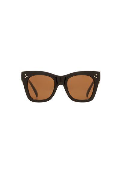 Acetate Frame Sunglasses - predominant colour: black; occasions: casual, holiday; style: cateye; size: large; material: plastic/rubber; pattern: plain; finish: plain; season: s/s 2016; wardrobe: basic