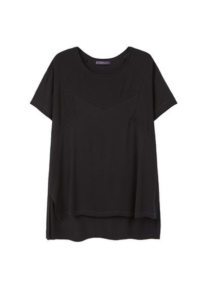 Ribbed Side Slit T Shirt - pattern: plain; style: t-shirt; predominant colour: black; occasions: casual; length: standard; fibres: viscose/rayon - stretch; fit: loose; neckline: crew; sleeve length: short sleeve; sleeve style: standard; pattern type: fabric; texture group: jersey - stretchy/drapey; season: s/s 2016; wardrobe: basic