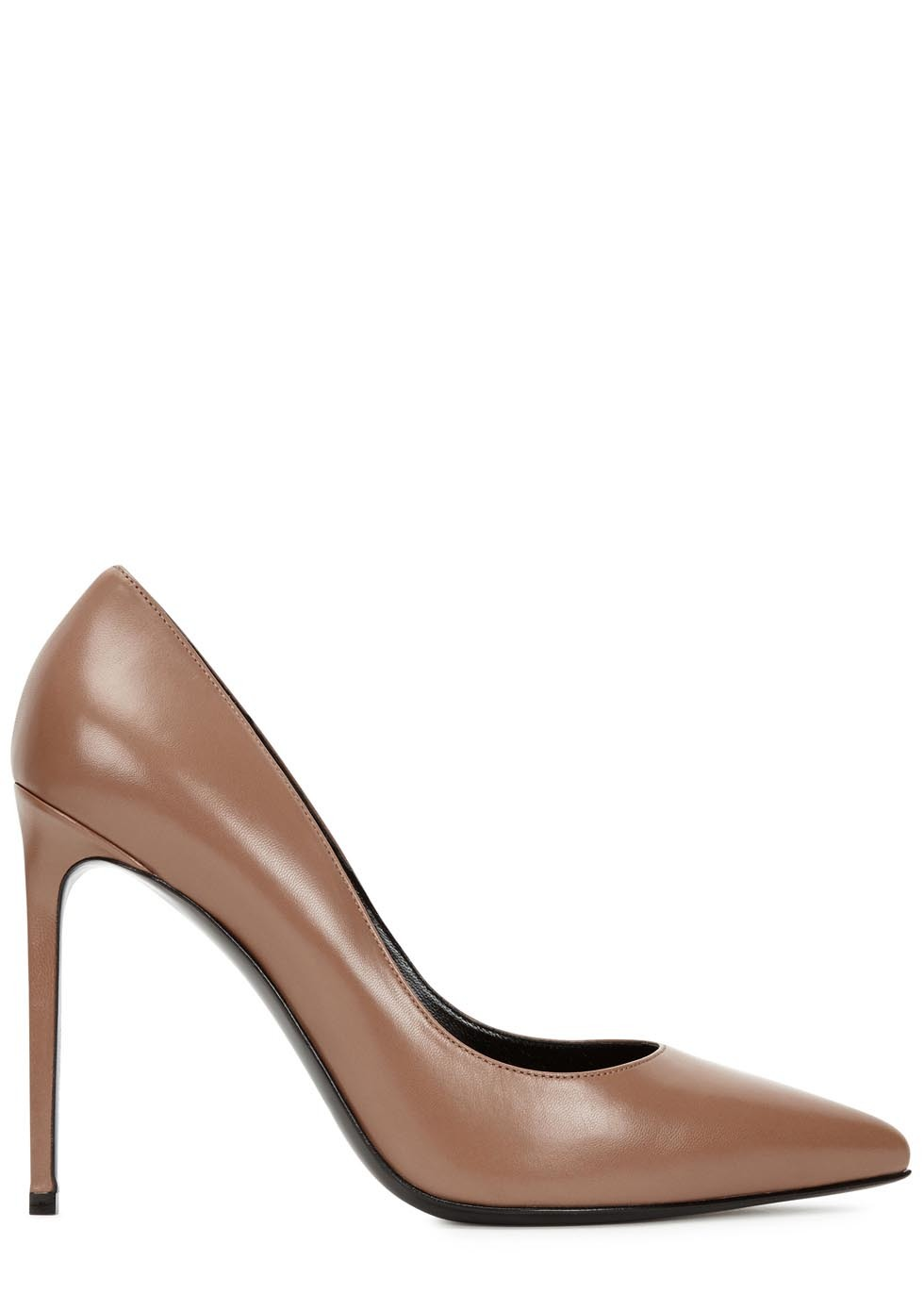 Taupe Glossed Leather Pumps - predominant colour: tan; occasions: evening, work; material: suede; heel height: high; heel: stiletto; toe: pointed toe; style: courts; finish: plain; pattern: plain; season: s/s 2016; wardrobe: highlight