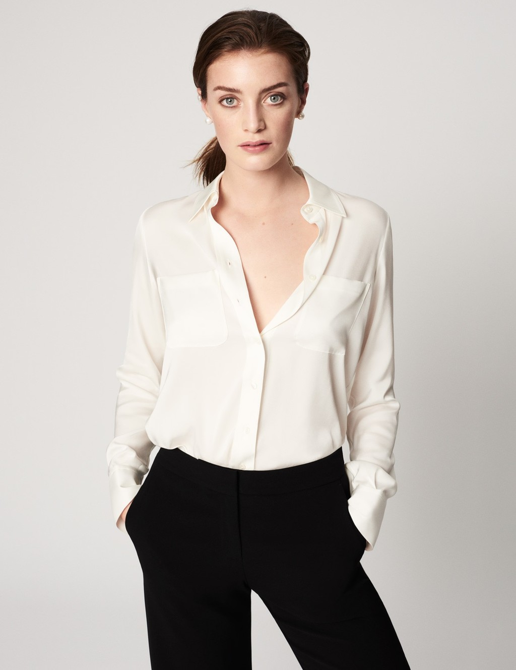 Silk Shirt - neckline: shirt collar/peter pan/zip with opening; pattern: plain; style: shirt; predominant colour: ivory/cream; occasions: work; length: standard; fibres: silk - 100%; fit: body skimming; sleeve length: long sleeve; sleeve style: standard; texture group: crepes; pattern type: fabric; season: s/s 2016; wardrobe: basic