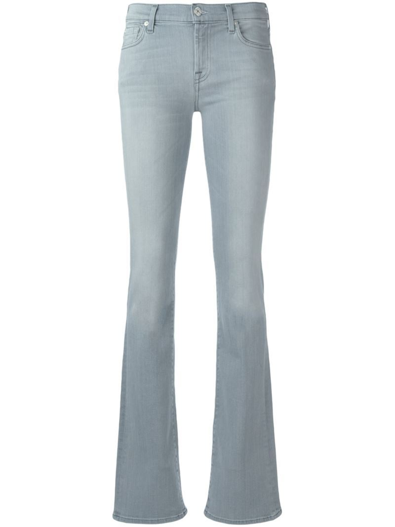 Flared Jeans, Women's, Grey - style: flares; length: standard; pattern: plain; pocket detail: traditional 5 pocket; waist: mid/regular rise; predominant colour: light grey; occasions: casual; fibres: cotton - stretch; texture group: denim; pattern type: fabric; season: s/s 2016; wardrobe: highlight