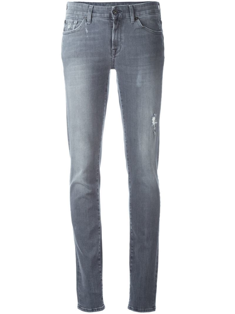 Distressed Skinny Jeans, Women's, Grey - style: skinny leg; length: standard; pattern: plain; pocket detail: traditional 5 pocket; waist: mid/regular rise; predominant colour: denim; occasions: casual; fibres: cotton - stretch; texture group: denim; pattern type: fabric; jeans detail: rips; season: s/s 2016; wardrobe: basic