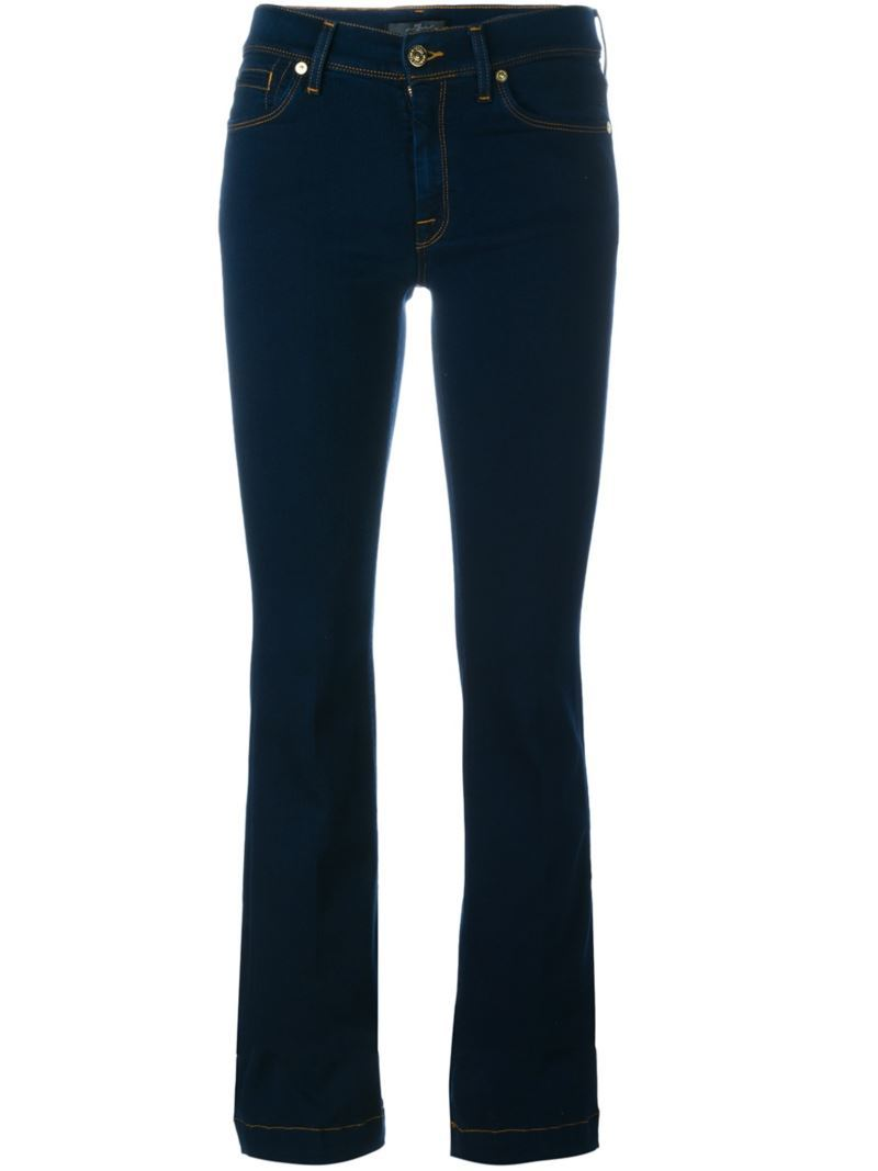 'charlize' Slim Flared Jeans, Women's, Blue - style: flares; length: standard; pattern: plain; pocket detail: traditional 5 pocket; waist: mid/regular rise; predominant colour: navy; occasions: casual; fibres: cotton - stretch; texture group: denim; pattern type: fabric; season: s/s 2016; wardrobe: basic