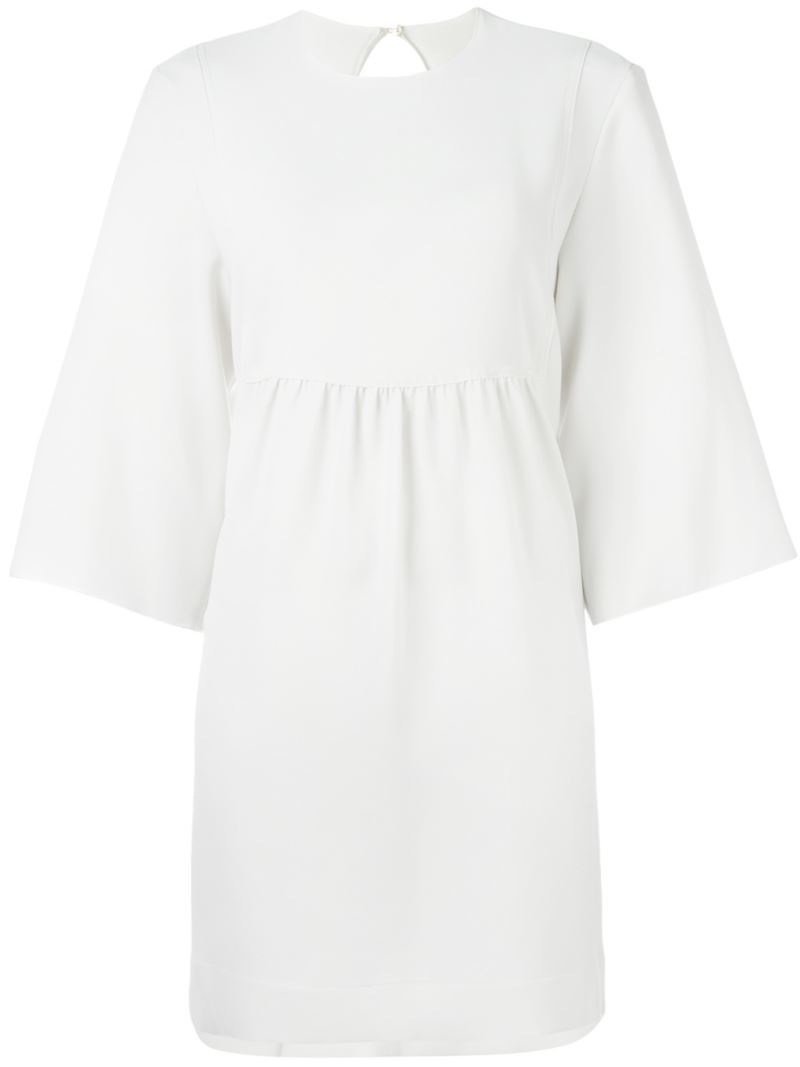 Fitted Skirt Mini Dress, Women's, White - style: shift; length: mini; pattern: plain; predominant colour: white; occasions: casual; fit: body skimming; fibres: polyester/polyamide - mix; neckline: crew; sleeve length: 3/4 length; sleeve style: standard; pattern type: fabric; texture group: woven light midweight; season: s/s 2016; wardrobe: basic