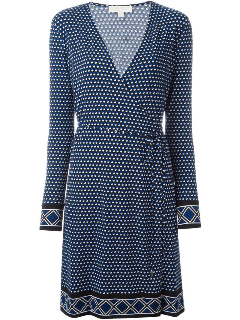 Dotted Print Wrap Dress, Women's, Size: Medium, Black - style: faux wrap/wrap; neckline: v-neck; pattern: polka dot; waist detail: belted waist/tie at waist/drawstring; secondary colour: white; predominant colour: navy; occasions: casual; length: just above the knee; fit: body skimming; fibres: polyester/polyamide - stretch; sleeve length: long sleeve; sleeve style: standard; pattern type: fabric; texture group: jersey - stretchy/drapey; multicoloured: multicoloured; season: s/s 2016; wardrobe: highlight