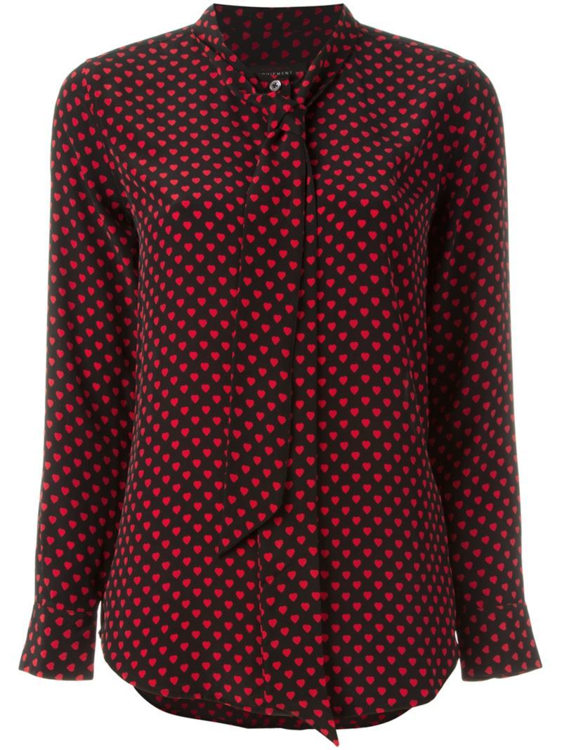 Kate Moss For Heart Blouse, Women's, Size: Medium, Black - neckline: pussy bow; style: blouse; pattern: polka dot; secondary colour: true red; predominant colour: black; occasions: evening; length: standard; fibres: silk - 100%; fit: body skimming; sleeve length: long sleeve; sleeve style: standard; pattern type: fabric; texture group: woven light midweight; multicoloured: multicoloured; season: s/s 2016