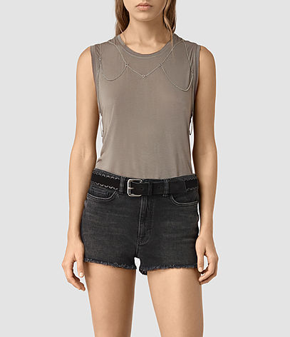 Zemery Tank - pattern: plain; sleeve style: sleeveless; style: vest top; predominant colour: stone; occasions: casual; length: standard; fibres: viscose/rayon - 100%; fit: body skimming; neckline: crew; sleeve length: sleeveless; pattern type: fabric; texture group: jersey - stretchy/drapey; season: s/s 2016; wardrobe: basic