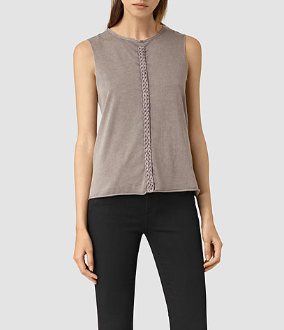 Slash Vest - pattern: plain; sleeve style: sleeveless; style: vest top; predominant colour: stone; occasions: casual; length: standard; fibres: cotton - 100%; fit: body skimming; neckline: crew; sleeve length: sleeveless; pattern type: fabric; texture group: jersey - stretchy/drapey; season: s/s 2016