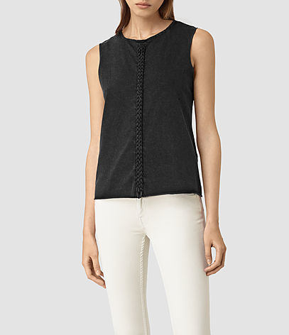 Slash Vest - pattern: plain; sleeve style: sleeveless; style: vest top; predominant colour: black; occasions: casual; length: standard; fibres: cotton - 100%; fit: body skimming; neckline: crew; sleeve length: sleeveless; texture group: crepes; pattern type: fabric; season: s/s 2016; wardrobe: basic