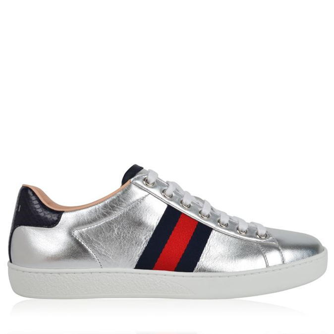 Ace Metallic Low Top Sneaker - predominant colour: silver; occasions: casual; material: leather; heel height: flat; toe: round toe; style: trainers; finish: metallic; pattern: plain; season: s/s 2016; wardrobe: basic