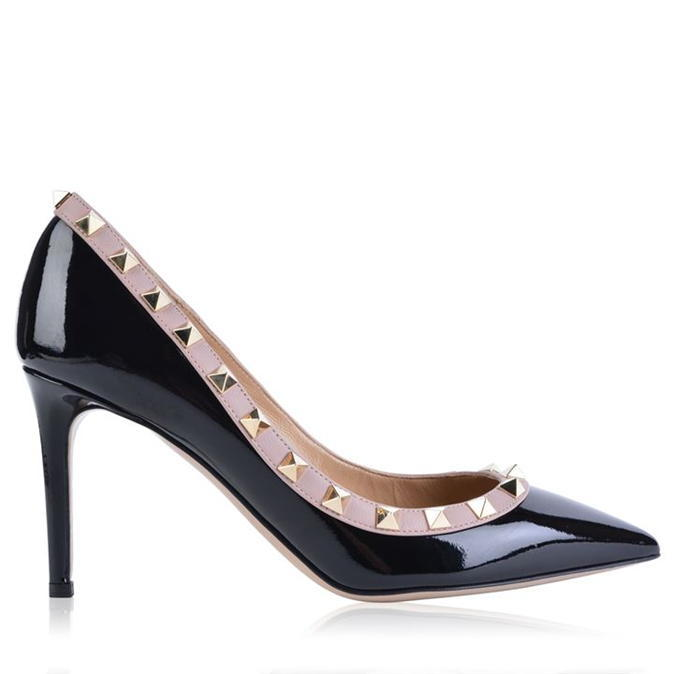 Patent 85 Rockstud Heels - predominant colour: black; occasions: evening; material: leather; heel height: high; heel: stiletto; toe: pointed toe; style: courts; finish: patent; pattern: colourblock; season: s/s 2016; wardrobe: event