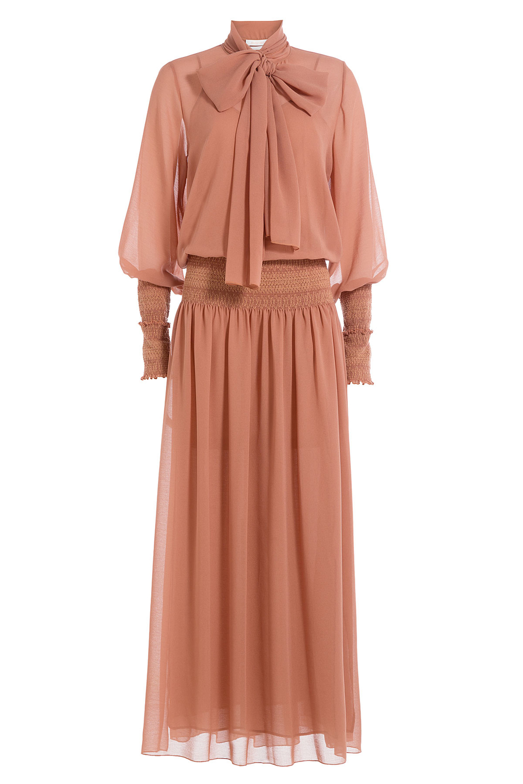 Chiffon Maxi Dress - pattern: plain; style: maxi dress; length: ankle length; neckline: pussy bow; predominant colour: terracotta; occasions: evening, occasion; fit: soft a-line; fibres: polyester/polyamide - 100%; sleeve length: long sleeve; sleeve style: standard; texture group: sheer fabrics/chiffon/organza etc.; pattern type: fabric; season: s/s 2016; wardrobe: event