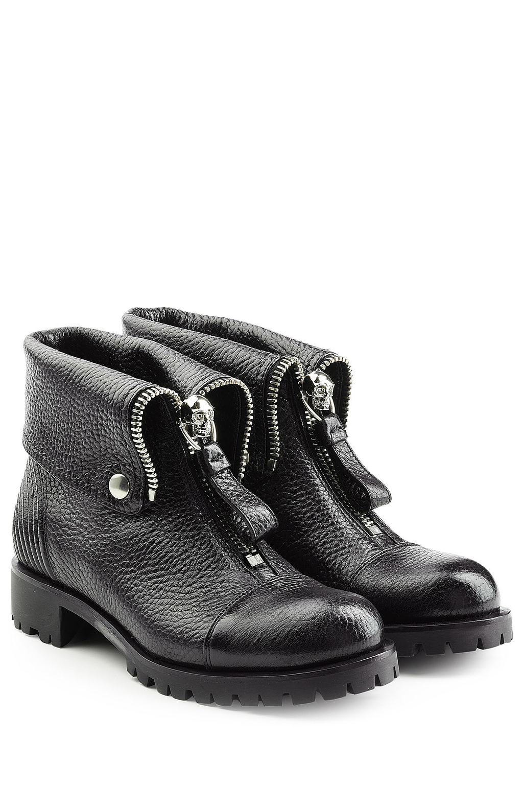 Leather Ankle Boots Black - predominant colour: black; occasions: casual; material: leather; heel height: flat; heel: block; toe: round toe; boot length: ankle boot; style: standard; finish: plain; pattern: plain; season: s/s 2016