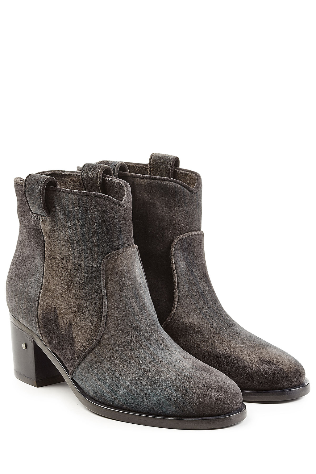 Suede Ankle Boots Grey - predominant colour: charcoal; occasions: casual; material: suede; heel height: mid; heel: block; toe: round toe; boot length: ankle boot; style: standard; finish: plain; pattern: plain; season: s/s 2016
