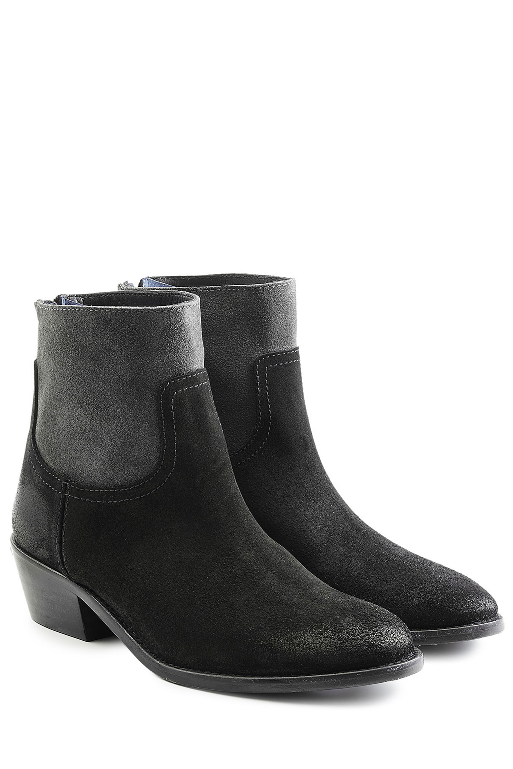 Two Tone Suede Ankle Boots Black - predominant colour: black; occasions: casual; material: suede; heel height: mid; heel: standard; toe: round toe; boot length: ankle boot; style: standard; finish: plain; pattern: plain; season: s/s 2016