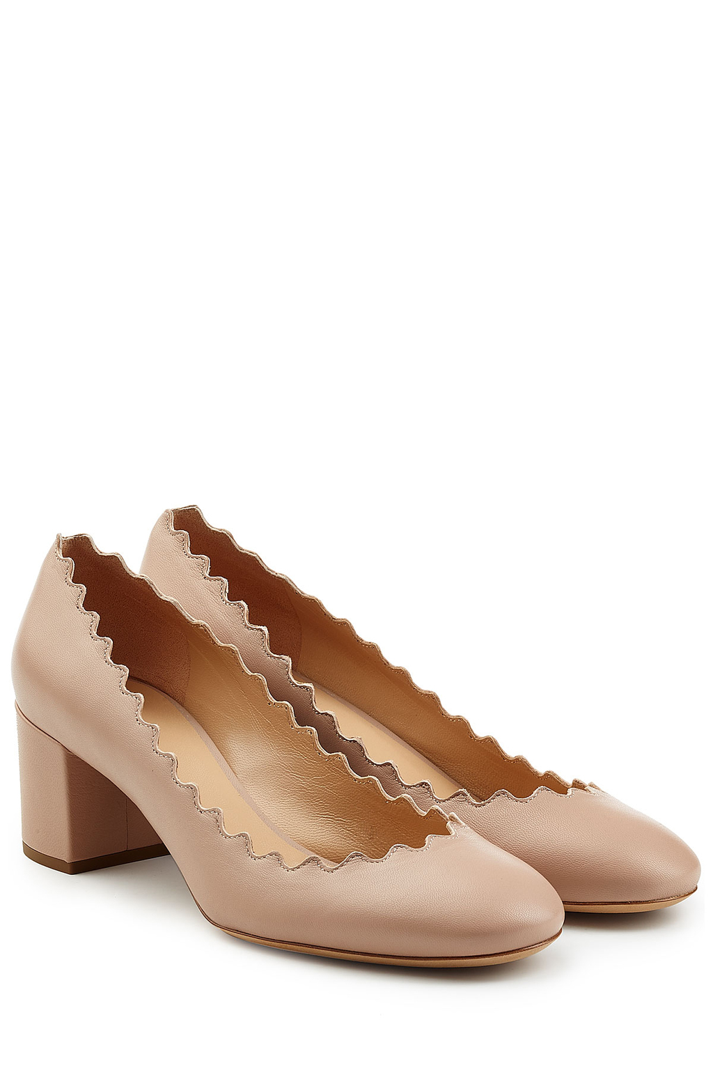 Leather Pumps Beige - predominant colour: tan; occasions: casual, evening; material: leather; heel height: mid; heel: block; toe: round toe; style: courts; finish: plain; pattern: plain; season: s/s 2016; wardrobe: highlight