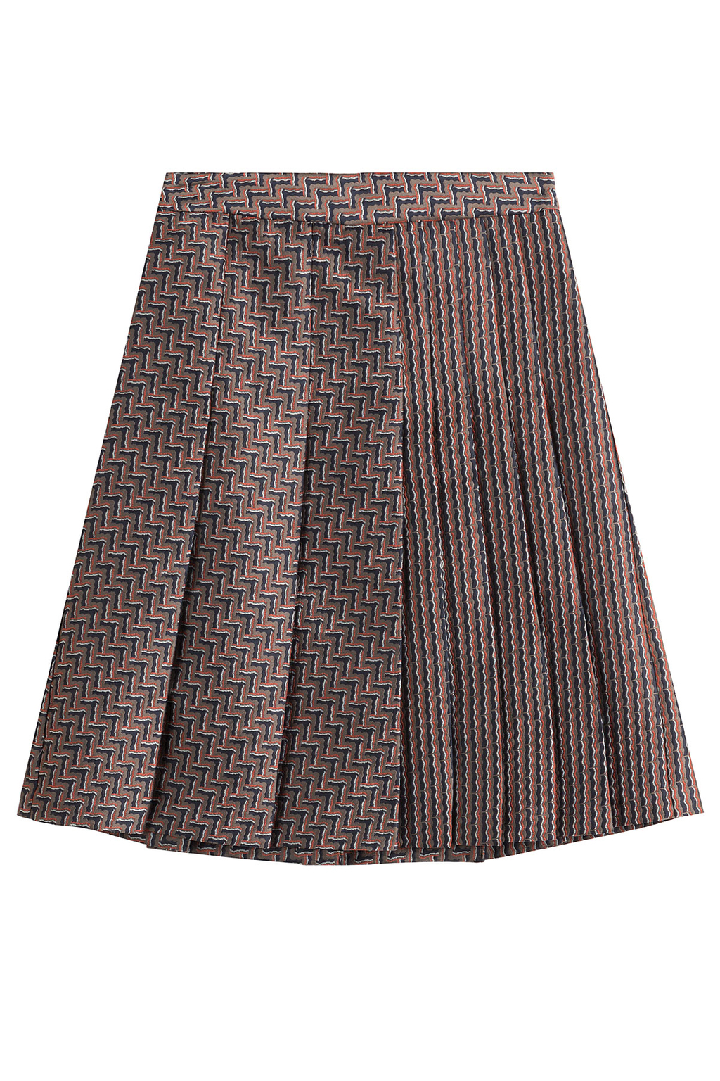 Woven Skirt With Pleats - fit: loose/voluminous; style: pleated; waist: mid/regular rise; predominant colour: taupe; occasions: casual; length: just above the knee; fibres: polyester/polyamide - 100%; pattern type: fabric; pattern: patterned/print; texture group: woven light midweight; season: s/s 2016; wardrobe: highlight