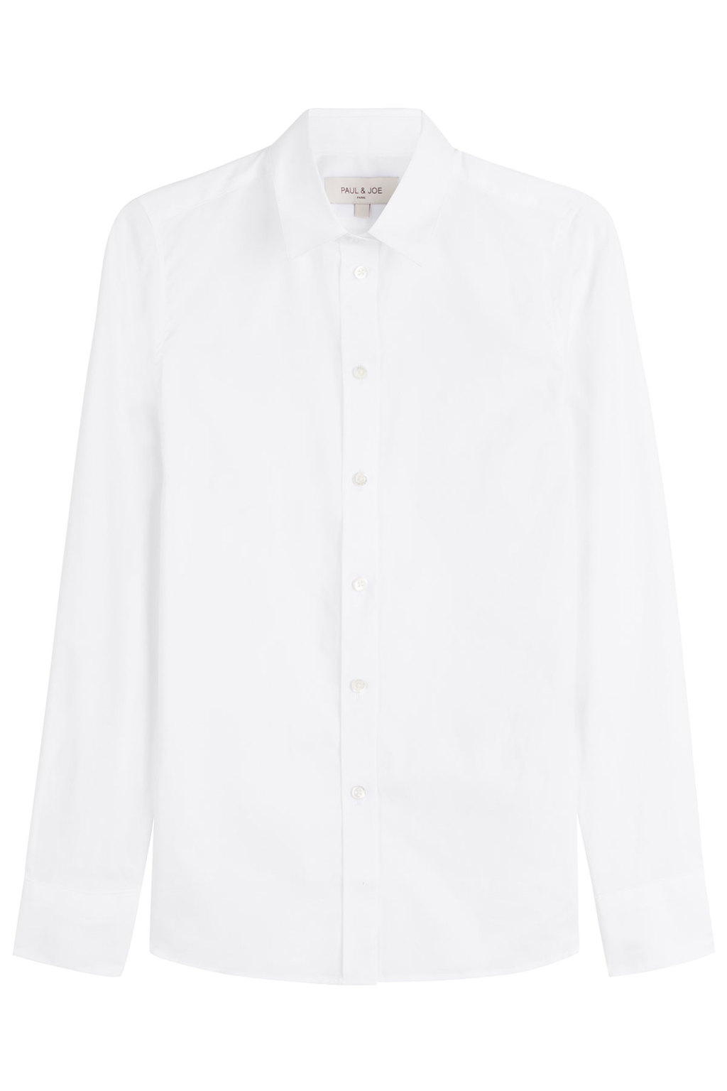 Cotton Shirt - neckline: shirt collar/peter pan/zip with opening; pattern: plain; style: shirt; predominant colour: white; occasions: work; length: standard; fibres: cotton - 100%; fit: body skimming; sleeve length: long sleeve; sleeve style: standard; texture group: cotton feel fabrics; pattern type: fabric; season: s/s 2016; wardrobe: basic