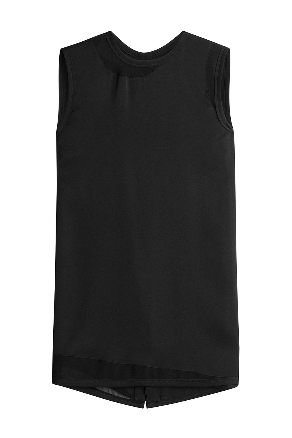 Sleeveless Silk Top Black - pattern: plain; sleeve style: sleeveless; predominant colour: black; occasions: casual; length: standard; style: top; fibres: silk - 100%; fit: body skimming; neckline: crew; sleeve length: sleeveless; texture group: silky - light; pattern type: fabric; season: s/s 2016; wardrobe: basic