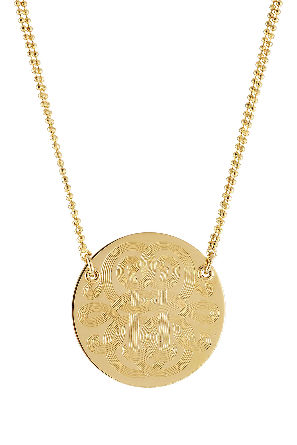 Diva Large 24kt Gold Plated Necklace - predominant colour: gold; occasions: casual, creative work; style: pendant; length: mid; size: standard; material: chain/metal; finish: metallic; season: s/s 2016; wardrobe: basic