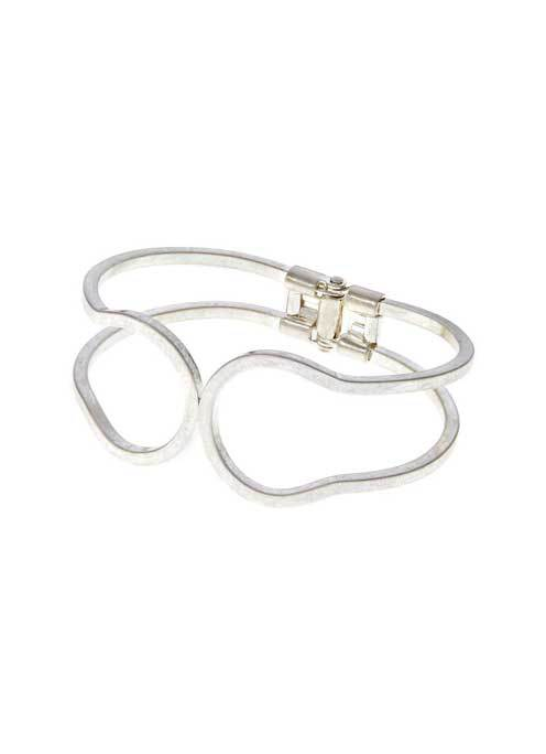 Silver Metal Cuff - predominant colour: silver; occasions: casual; style: cuff; size: large/oversized; material: chain/metal; finish: metallic; season: s/s 2016