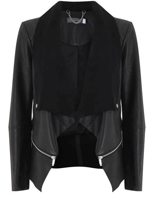 Black Leather Waterfall Jacket - pattern: plain; style: single breasted blazer; collar: shawl/waterfall; predominant colour: black; length: standard; fit: straight cut (boxy); fibres: leather - 100%; sleeve length: long sleeve; sleeve style: standard; texture group: leather; collar break: low/open; pattern type: fabric; occasions: creative work; season: s/s 2016