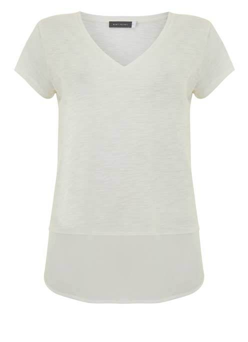 Ivory V Neck Woven Hem Tee - neckline: v-neck; pattern: plain; style: t-shirt; predominant colour: white; occasions: casual; length: standard; fibres: cotton - mix; fit: body skimming; back detail: longer hem at back than at front; sleeve length: short sleeve; sleeve style: standard; pattern type: fabric; texture group: jersey - stretchy/drapey; season: s/s 2016; wardrobe: basic