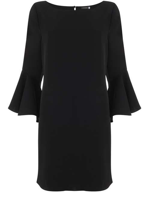 Black Fluted Sleeve Dress - style: shift; neckline: round neck; sleeve style: bell sleeve; pattern: plain; predominant colour: black; occasions: evening; length: just above the knee; fit: body skimming; fibres: polyester/polyamide - 100%; sleeve length: 3/4 length; pattern type: fabric; texture group: other - light to midweight; season: s/s 2016; wardrobe: event