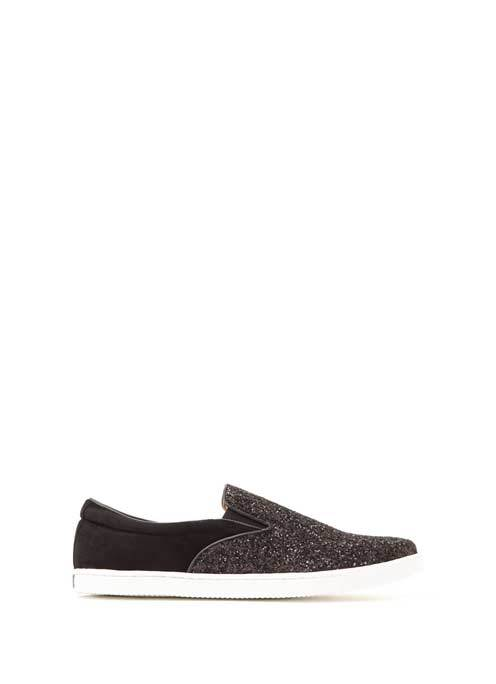 Black Glitter & Suede Alice Slip On Plimsoll - secondary colour: charcoal; predominant colour: black; occasions: casual; material: suede; heel height: flat; toe: round toe; finish: metallic; pattern: plain; style: skate shoes; multicoloured: multicoloured; season: s/s 2016; wardrobe: basic