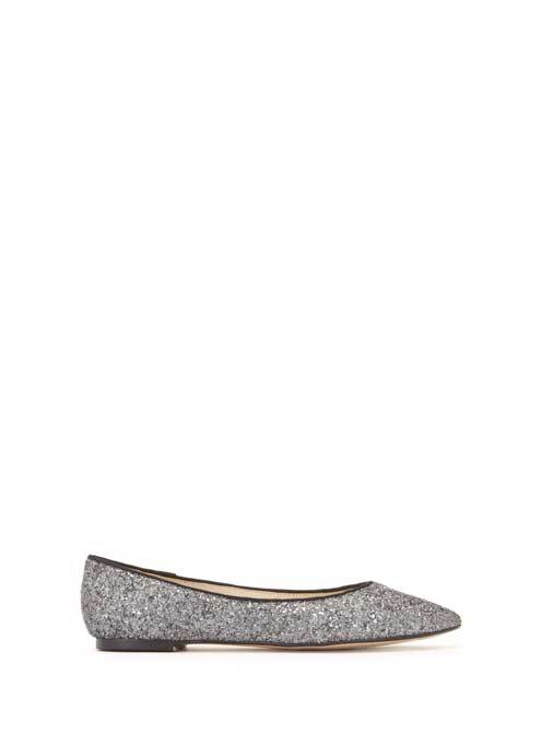 Pewter Nali Glitter Ballet Pump - predominant colour: silver; occasions: casual; material: leather; heel height: flat; embellishment: glitter; toe: pointed toe; style: ballerinas / pumps; finish: metallic; pattern: plain; season: s/s 2016; wardrobe: basic