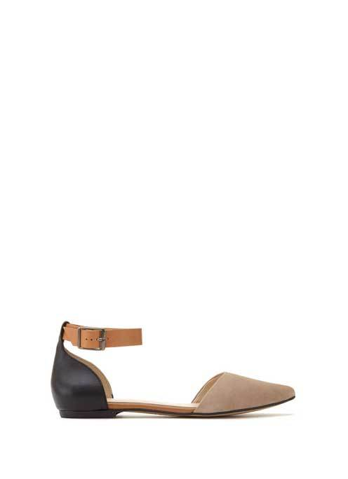 Neutral Kendall Ankle Strap Pump - predominant colour: stone; secondary colour: black; occasions: casual; material: suede; heel height: flat; ankle detail: ankle strap; toe: pointed toe; style: ballerinas / pumps; finish: plain; pattern: plain; multicoloured: multicoloured; season: s/s 2016; wardrobe: basic