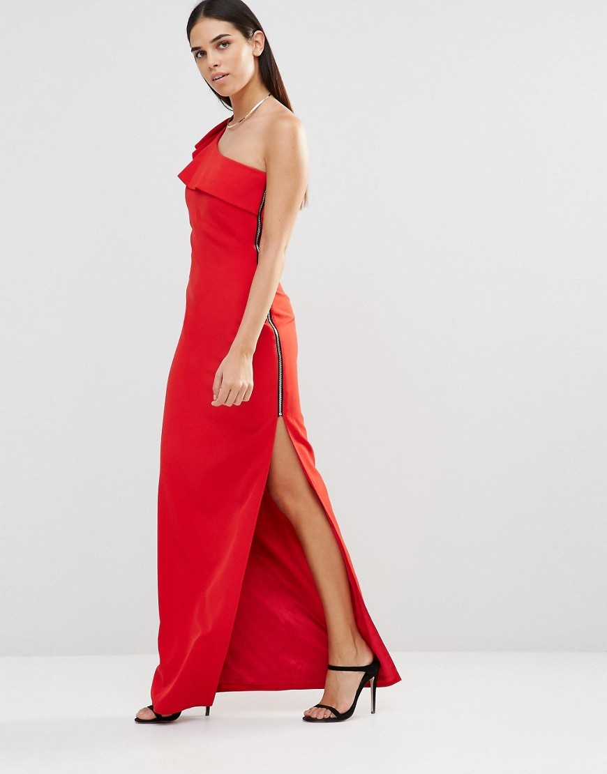 Aiko One Shoulder Maxi Dress With Side Zip Red - pattern: plain; sleeve style: sleeveless; style: maxi dress; neckline: asymmetric; hip detail: draws attention to hips; bust detail: subtle bust detail; predominant colour: true red; occasions: evening; length: floor length; fit: body skimming; fibres: polyester/polyamide - 100%; sleeve length: sleeveless; pattern type: fabric; texture group: other - light to midweight; season: s/s 2016; wardrobe: event