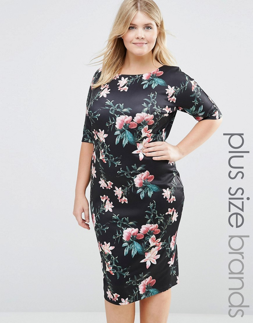 Plus Scuba Dress In Floral Print Black Floral - style: shift; length: below the knee; secondary colour: pink; predominant colour: black; occasions: evening; fit: body skimming; fibres: polyester/polyamide - stretch; neckline: crew; sleeve length: half sleeve; sleeve style: standard; pattern type: fabric; pattern: florals; texture group: jersey - stretchy/drapey; multicoloured: multicoloured; season: s/s 2016; wardrobe: event