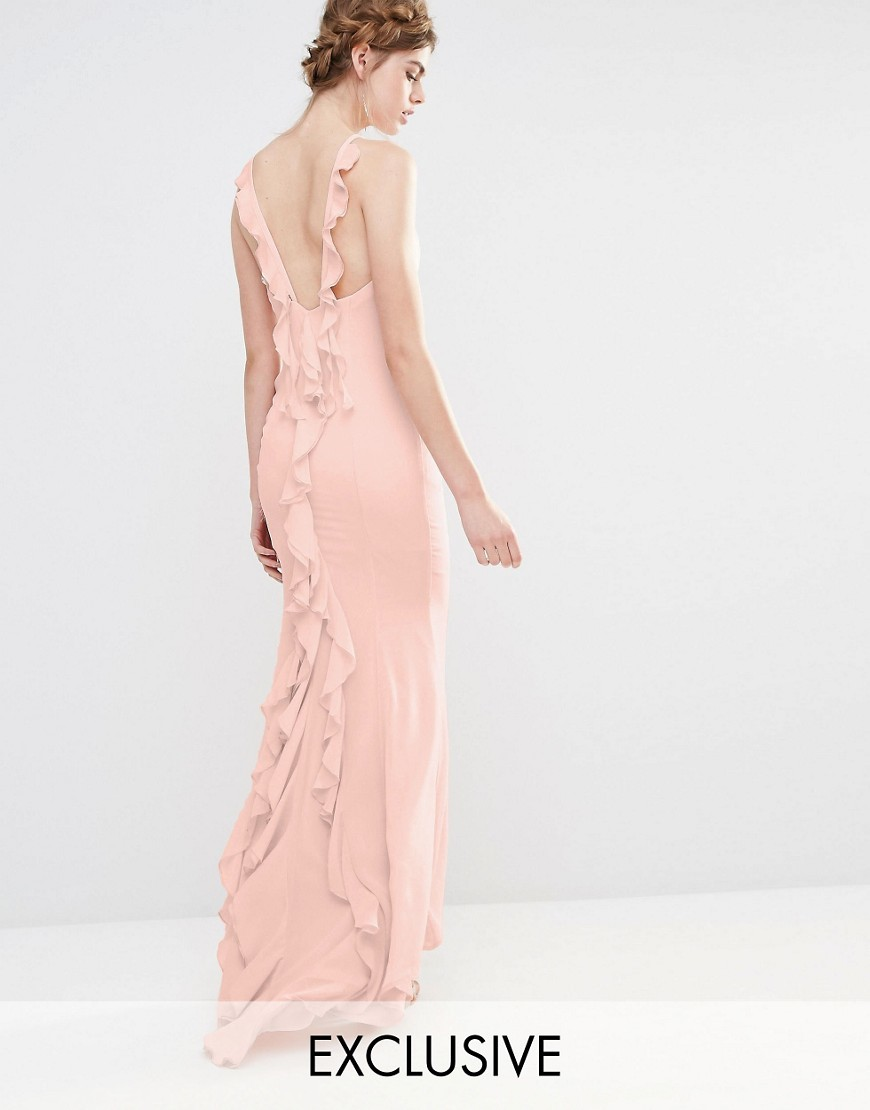 Wedding Maxi Dress With Fishtail And Ruffles At Back Pale Pink - sleeve style: spaghetti straps; pattern: plain; back detail: low cut/open back; predominant colour: nude; length: floor length; fit: body skimming; fibres: polyester/polyamide - 100%; occasions: occasion; style: fishtail; neckline: crew; sleeve length: sleeveless; texture group: crepes; pattern type: fabric; season: s/s 2016; wardrobe: event