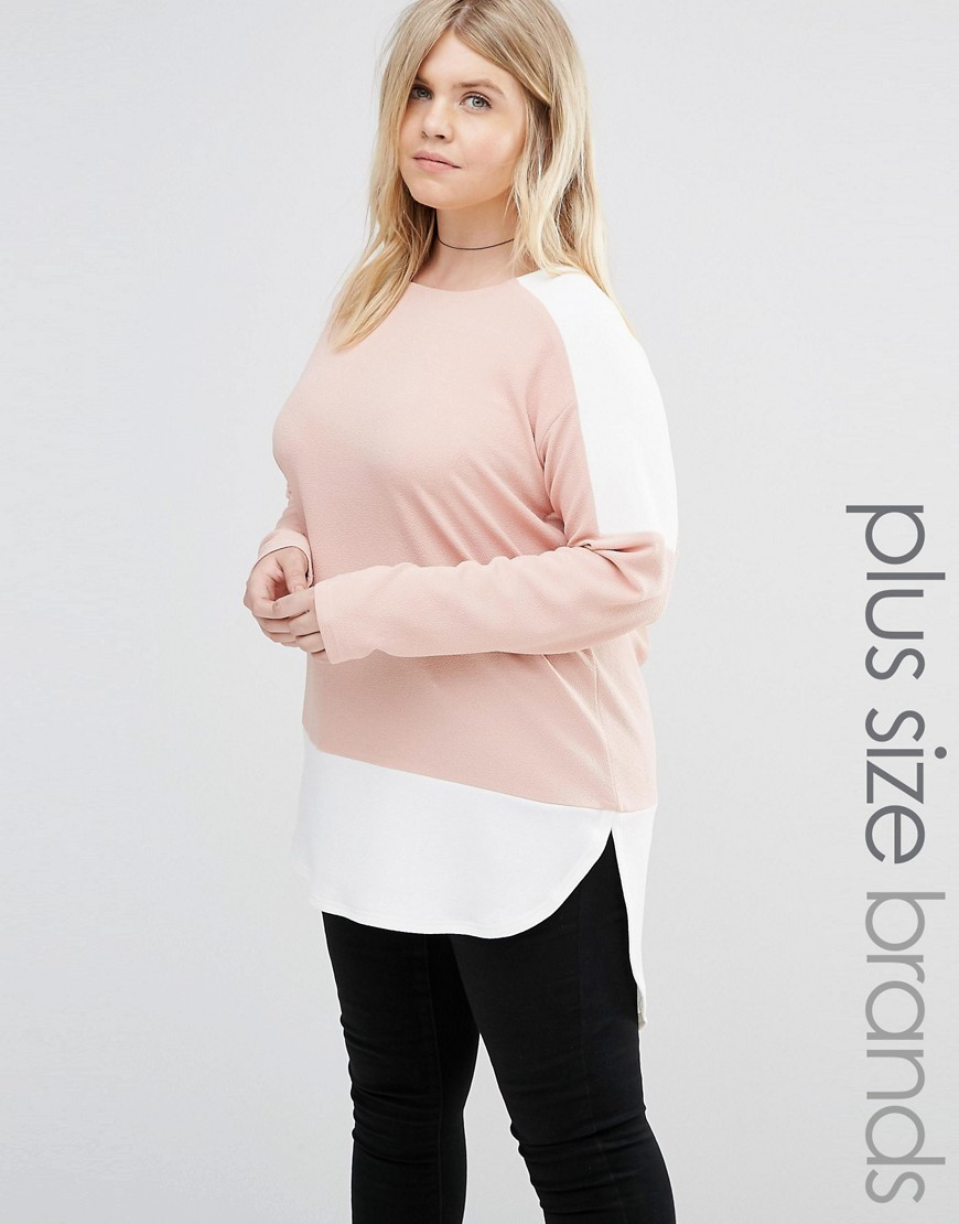Plus Colourblock Top Blush - length: below the bottom; secondary colour: white; predominant colour: blush; occasions: casual; style: top; fibres: polyester/polyamide - stretch; fit: body skimming; neckline: crew; sleeve length: long sleeve; sleeve style: standard; pattern type: fabric; pattern: colourblock; texture group: jersey - stretchy/drapey; multicoloured: multicoloured; season: s/s 2016; wardrobe: highlight