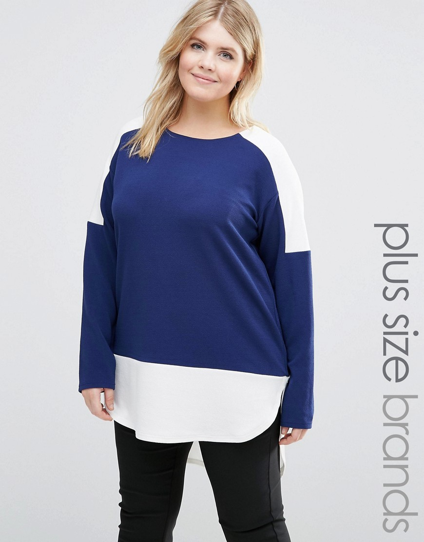 Plus Colourblock Top Navy - length: below the bottom; secondary colour: white; predominant colour: royal blue; occasions: casual; style: top; fibres: polyester/polyamide - stretch; fit: body skimming; neckline: crew; sleeve length: long sleeve; sleeve style: standard; pattern type: fabric; pattern: colourblock; texture group: jersey - stretchy/drapey; multicoloured: multicoloured; season: s/s 2016