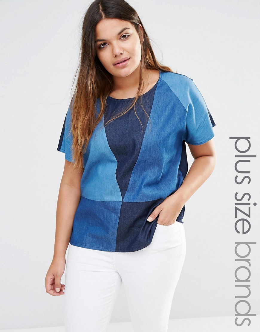 Patched Denim Woven Top Blue - secondary colour: navy; predominant colour: denim; occasions: casual; length: standard; style: top; fibres: cotton - 100%; fit: body skimming; neckline: crew; sleeve length: short sleeve; sleeve style: standard; texture group: denim; pattern type: fabric; pattern: patterned/print; multicoloured: multicoloured; season: s/s 2016; wardrobe: highlight
