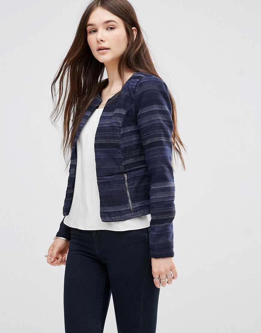 Cropped Jacquard Blazer Blue - collar: round collar/collarless; style: boxy; pattern: herringbone/tweed; secondary colour: pale blue; predominant colour: navy; occasions: casual, creative work; fit: straight cut (boxy); fibres: cotton - 100%; sleeve length: long sleeve; sleeve style: standard; collar break: low/open; pattern type: fabric; pattern size: standard; texture group: tweed - light/midweight; length: cropped; season: s/s 2016; wardrobe: highlight